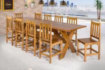 Mesa Madeira Rustica 2,80 com 10 Cadeiras 100% Eucalipto - Max