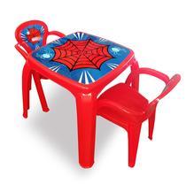 Mesa mesinha infantil 2 cadeiras plastica spider aranha menino - Kit