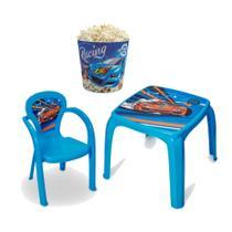 Mesa Mesinha Infantil Carro Com 1 Cadeira + Balde de Pipoca - Usual Utilidades