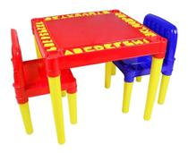Mesa Mesinha Infantil Com 2 Cadeira Educativa Para Crianças - Vermelha - Tritec