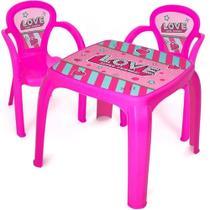 Mesa Mesinha Infantil Com 2 Cadeiras Love - Usual Brinquedos