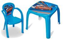 Mesa Mesinha Infantil Decorada Carro Menino Com 1 Cadeira - Usual Utilidades