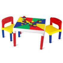 Mesa Mesinha Infantil Didática + 2 Cadeiras Multiatividades Bell Toy - KIT