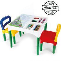 Mesa Mesinha Infantil Didática Com Cadeiras e Adesivos - Poliplac