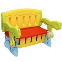 Mesa Mesinha Infantil Plástico 3 em 1 Banco Baú Cadeira Importway IWMI-3X1 Colorido -