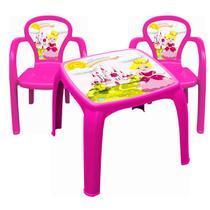 Mesa mesinha princesa + 2 cadeiras usual plastic - KIT