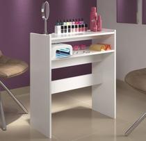 Mesa p/ Manicure Bancada Porta Esmaltes Organizador c/ Prateleiras - Clickforte