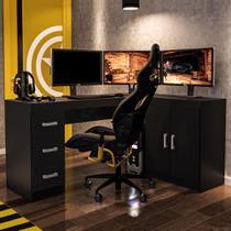 Mesa para Computador 2 Portas 3 Gavetas Espanha Preto BP - Politorno