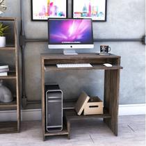 Mesa para Computador 2 Prateleiras Suporte Retrátil Bit Compace Carvalho Dark -