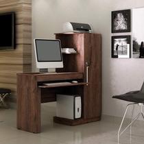 Mesa para Computador com Armário 1 Porta 1 Gaveta Office Valdemóveis Castanho -