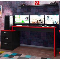 Mesa para Computador Desk Gamer DRX 6000 Espresso Móveis Álamo/Preto/Vermelho -