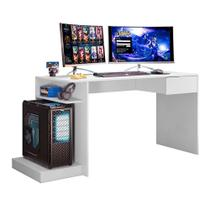 Mesa Para Computador Escrivaninha Gamer Rubi Branco Fosco - Mobler