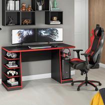 Mesa para Computador Gamer Vermelho NT2020 com 4 Prateleiras e Gancho para HeadSet - Notável