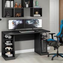 Mesa para Computador / Gamer XP Preto All Black 136x60cm NT2020 com 6 Prateleiras e Gancho para HeadSet - Notavel