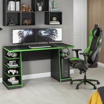 Mesa para Computador / Gamer XP Verde 136x60cm com 6 Prateleiras e Gancho para HeadSet - Notável