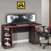Mesa para Computador / Gamer XP Vermelho 135x60cm com 6 Prateleiras e Gancho para HeadSet - NOTAVEL