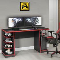 Mesa para Computador / Gamer XP Vermelho 135x60cm com 6 Prateleiras e Gancho para HeadSet - Notavel -