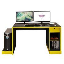 Mesa para Computador Notebook Desk Game DRX 3000 Preto/Amarelo - Móveis Leão -