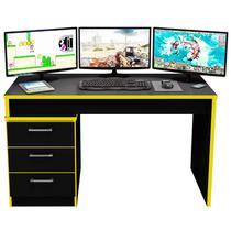 Mesa para Computador Notebook Desk Game DRX 5000 Preto/Amarelo - Móveis Leão -