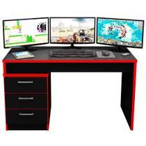 Mesa para Computador Notebook Desk Game DRX 5000 Preto/Vermelho - Móveis Leão -