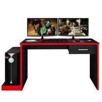 Mesa para Computador Notebook Desk Game DRX 9000 Preto/Vermelho - Móveis Leão -