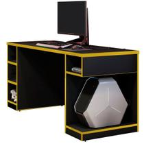 Mesa Para Computador Notebook PC Gamer Destiny Preto Amarelo - Lyam Decor -