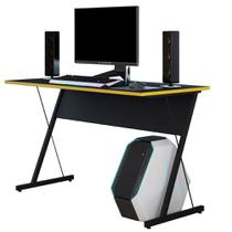 Mesa Para Computador Notebook PC Gamer Kombat Preto Amarelo - Lyam Decor -