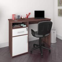 Mesa para Escritório 1 Prateleira 1 Nicho Hall Artany Ipê/Branco -
