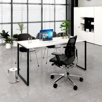 Mesa Para Escritório 1,50x75x60cm Estilo Industrial Kuadra ME150 Branco - COMPACE -