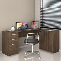 Mesa para Escritório 2 Gavetas Escrivaninha em L Office Notável Nogal -