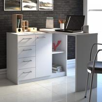 Mesa para Escritório com Armário 1 Porta 4 Gavetas Logan Artany Branco -