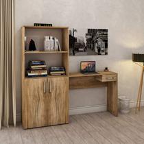 Mesa para Escritório com Armário 2 Portas e 1 Gaveta Job Compace Carvalho -