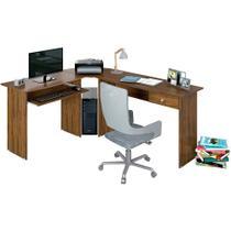 Mesa para Escritório em L 1 Gaveta Max Nogal  - Zanzini -