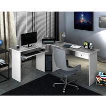 Mesa para Escritório em L 1 Gaveta Max Zanzini Branco Artico -