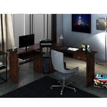 Mesa para Escritório em L 1 Gaveta Max Zanzini Jacarandá -