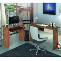 Mesa para Escritório em L 1 Gaveta Max Zanzini Natura/Off White -