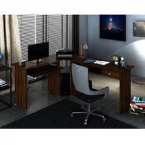 Mesa para Escritório em L 1 Gaveta Max Zanzini Nogal -