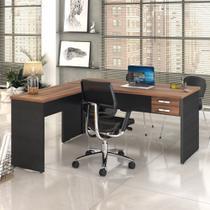 Mesa Para Escritório Em L 1,60x1,60m Tampo E Pés 30mm C/gav. - Compace