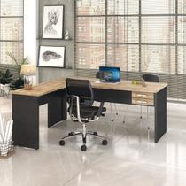 Mesa Para Escritório Em L 1,80x1,60m Tampo E Pés 30mm C/gav. - Compace