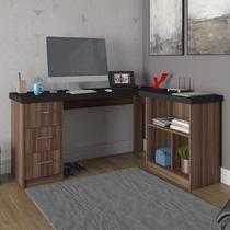 Mesa para Escritório em L 3 Gavetas Mali Artany Ipê/Preto -