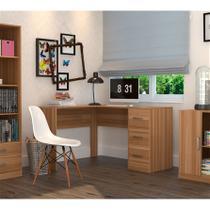 Mesa para Escritório em L com 3 Gavetas Office Plus Appunto - Castanho -