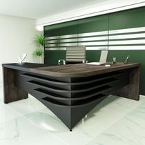Mesa para Escritório em L Diretor Artany Terrano/Preto -