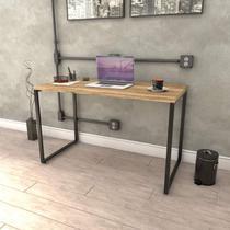 Mesa para Escritório Office Estilo Industrial 120cm Kuadra Compace Carvalho -