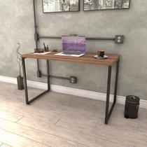 Mesa para Escritório Office Estilo Industrial 120cm Kuadra Compace Nogal -
