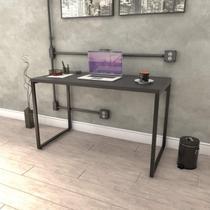 Mesa para Escritório Office Estilo Industrial 120cm Kuadra Compace Preto Onix -