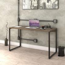 Mesa para Escritório Office Estilo Industrial 135cm Kuadra Compace Carvalho Dark -