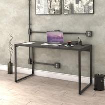 Mesa para Escritório Office Estilo Industrial 135cm Kuadra Compace Preto Onix -