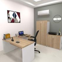 Mesa para Escritório Reta Natus 40mm Bramov Móveis Branco/Carvalho Mel -
