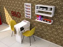 Mesa para Manicure 4 peças com Expositor, Nicho e Prateleira - B&D Arte E Decoração