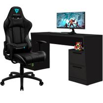 Mesa Para PC Gamer Fantasy BMG-02 com Cadeira Gamer EC3 ThunderX3 Preto - Lyam Decor